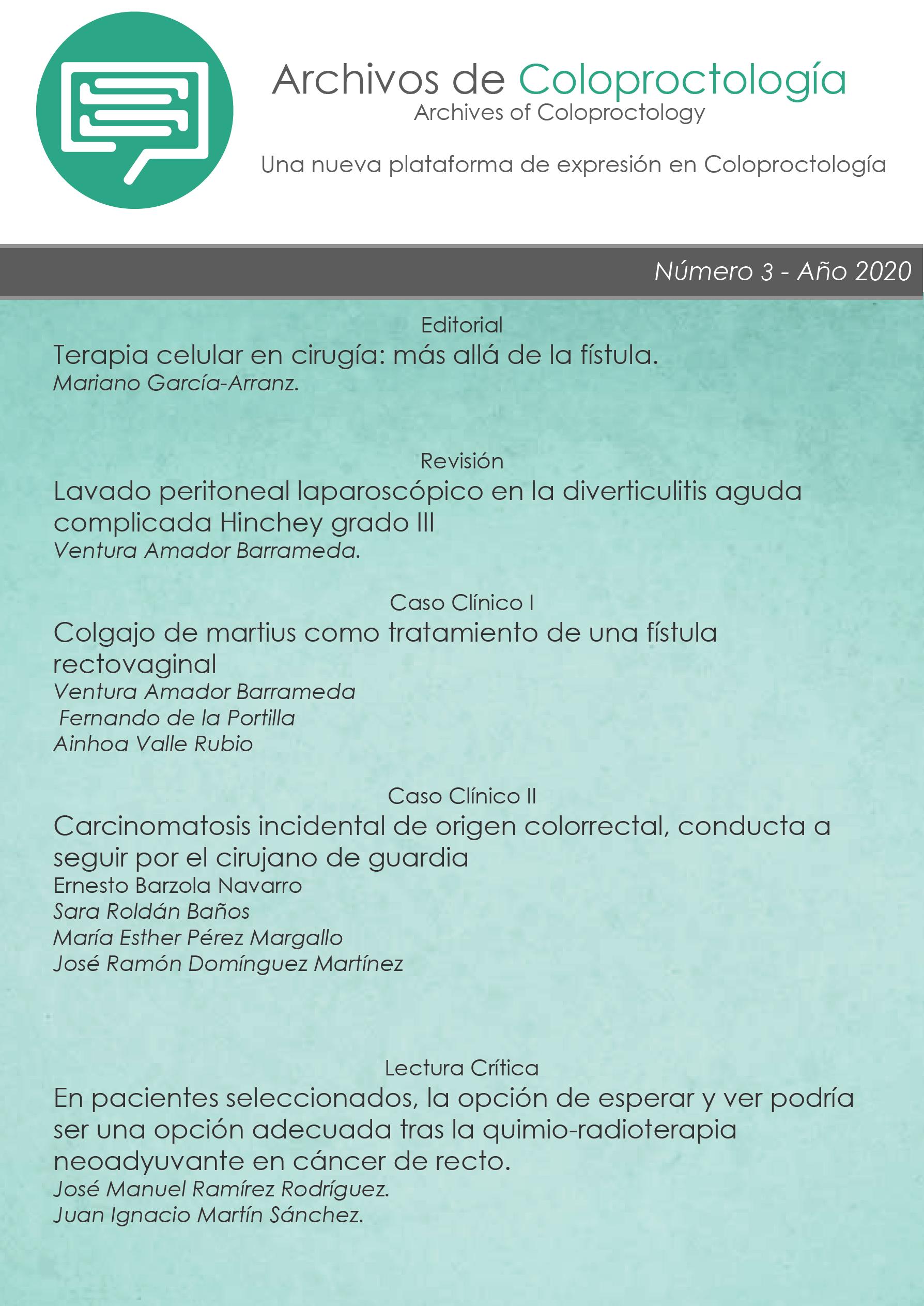 Ver Vol. 3 Núm. 3 (2020): Archivos de Coloproctología