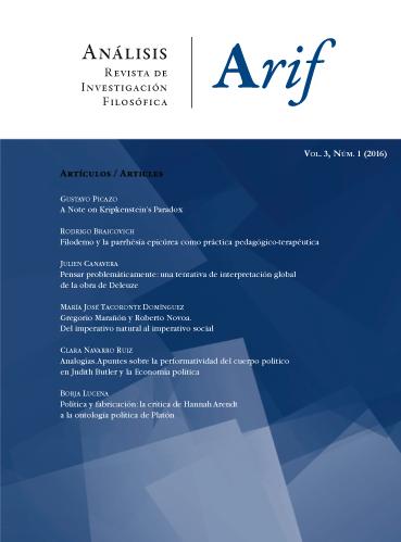 Ver Vol. 3 Núm. 1 (2016): Análisis. Revista de investigación filosófica