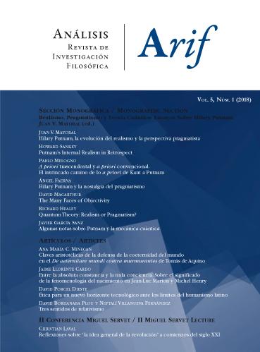 Ver Vol. 5 Núm. 1 (2018): Número abierto con sección monográfica: Juan V. Mayoral (ed.), Realismo, pragmatismo y teoría cuántica: ensayos sobre Hilary Putnam